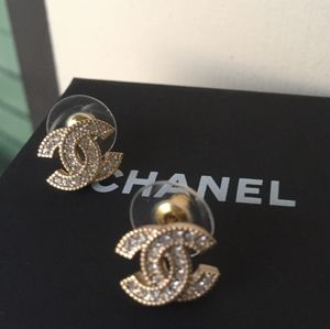Chanel Swarovski Crystal Earrings Authentic